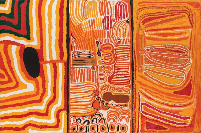 Eubena Nampitjin (born circa 1924) Muntja Nungurrayi (born circa 1930) and Lucy Yukenbarri Napanangka (circa 1934-2003) Women's Triptych, 1996 120 x 180 cm overall (47 1/4 x 70 7/8in)
