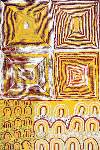 Fred Tjakamarra (born circa 1926) Sam Tjampitjin (born circa 1930) and Tjumpo Tjapanangka (circa 1929-2007) Men's Law Painting, The Great Sandy Desert, W.A., 1997