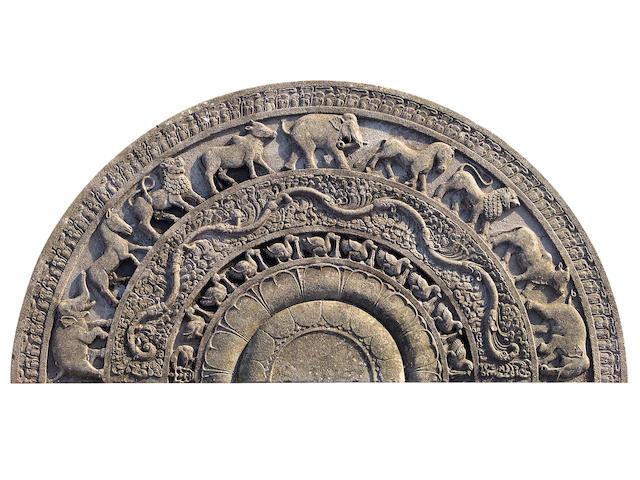 A Sri Lanka Temple Moonstone (Sandakada pahana) Sri Lanka, Late Anuradhapura Period, 10th/ early 11th Century