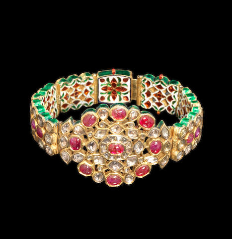 A diamond and spinel set man's bracelet early 20th century