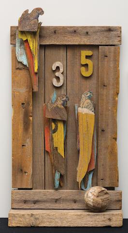 Rosalie Gascoigne (1917-1999) Side Show Parrots, 1981 63.5 x 48.2 x 10.1cm (25 x 19 x 4in).