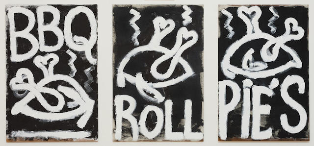 Robert MacPherson (born 1937) Mayfair: A chook, a roll, and a pie, 1996 (each panel)