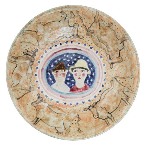William Robinson (born 1936), and Errol Barnes (born 1941) Large deep dish diameter 45cm (17 11/16in).