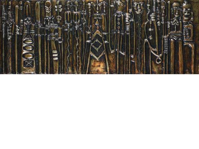Bruce Onobrakpeya (Nigerian, born 1932) A set of three metal foil reliefs each 51.5 x 137cm (20 1/4 x 53 15/16in). (3) one unframed