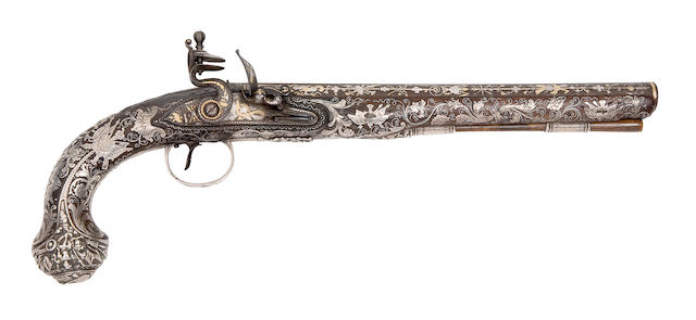 A Fine And Rare 16-Bore Silver-Mounted Flintlock Pistol Of Presentation Quality
