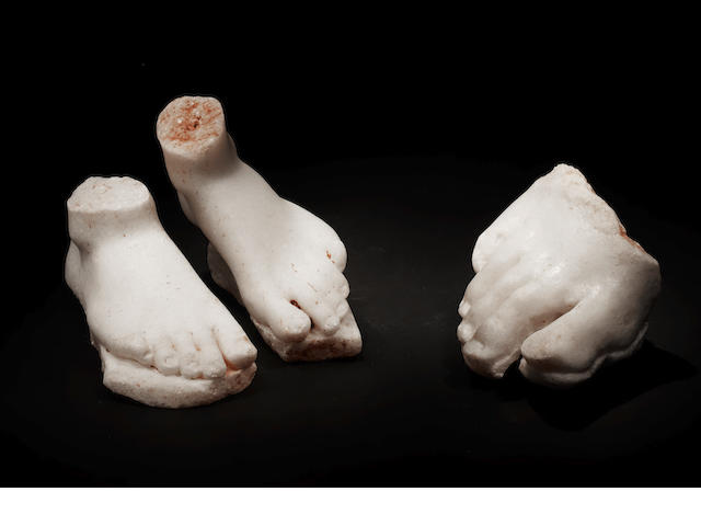 Three Greek marble feet fragments 3
