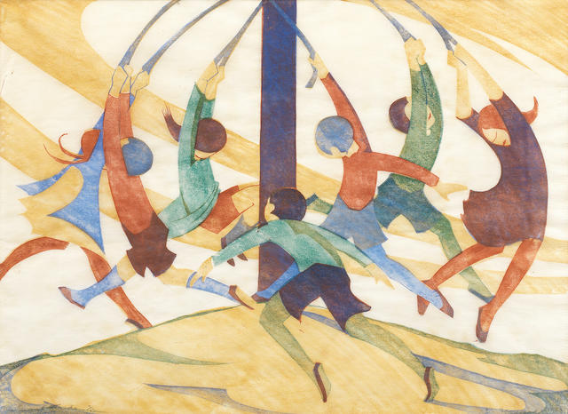 Ethel Spowers (Australian, 1890-1947) The Giant Stride (Coppel ES 23) The rare linocut printed in yellow ochre, reddish brown, viridian and cobalt blue, 1932-3, an early impression with strong colours, on buff oriental laid tissue, signed, dated '1933' and numbered 2/50 in pencil, with margins, 260 x 353mm (10 1/4 x 14in)(B)