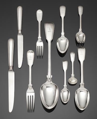 A Victorian  silver Fiddle and Thread pattern part-table service of flatware predominately by George Adams, London, various dates