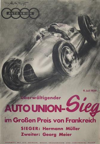 A copy of an Auto Union poster 1939, 102cm x 70cm.