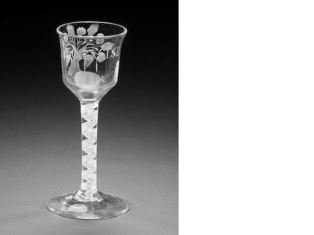 A rare cider glass inscribed 'No Excise', circa 1763