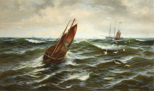 Thomas Rose Miles (British, active 1869-1906) Fishing boats in choppy waters