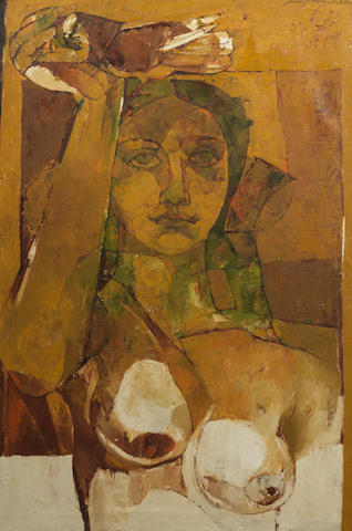 Jamil Naqsh (Pakistan, born 1938) Untitled (Abstract Woman),