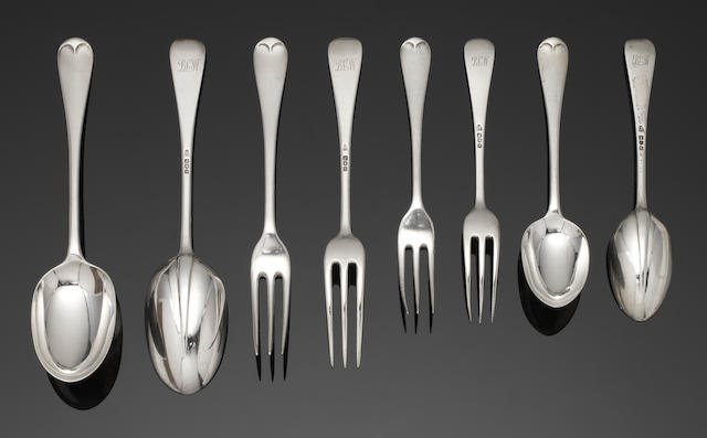 A silver Hanoverian pattern table service of flatware by Arthur Martin Parsons & Frank Herbert Parsons, London 1913