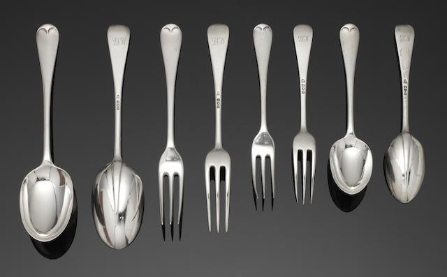 A silver Hanoverian pattern table service of flatware by Arthur Martin Parsons & Frank Herbert Parsons, London 1913