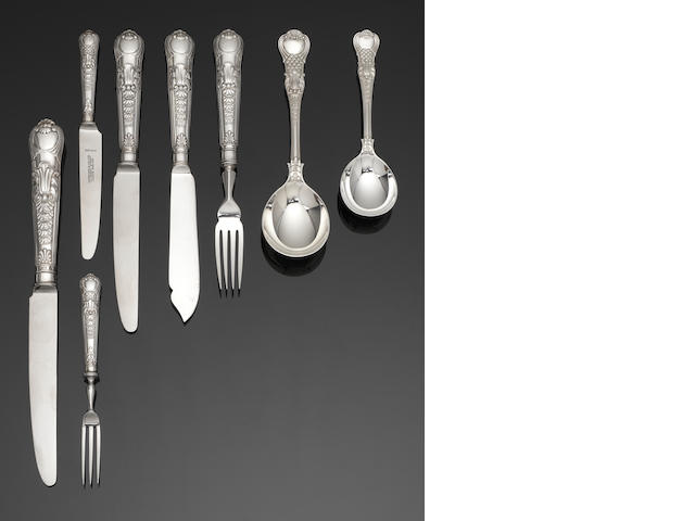 A comprehensice Coburg pattern table service of flatware and cutlery by Garrard & Co Ltd, London 1971 and Sheffield 1971