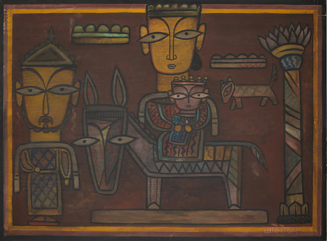 Jamini Roy (India, 1887-1972) Horse Rider, gouache on card, signed lower right, title and size inscribed JR 315/Horse Rider/27 1/2 x 36 1/2 /1800/= on reverse, framed,