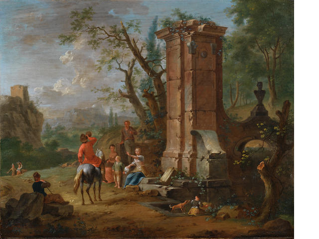 Circle of Franz de Paula Ferg (Vienna 1689-1740 London) Figures in an Italianate landscape, before ruins