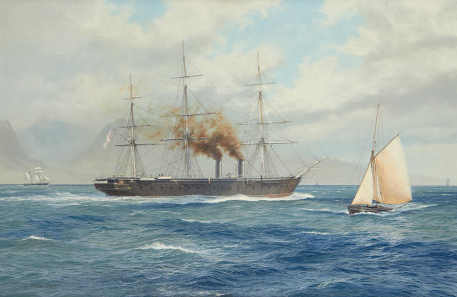 John Steven Dews (British, born 1949) The first iron clad H.M.S. Warrior built in 1861