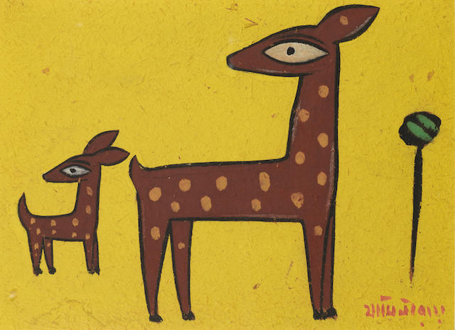 Jamini Roy (India, 1887-1972) Deer,