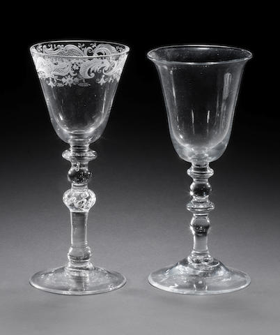 Two Dutch wine glasses of 'Newcastle' type, early 18th century