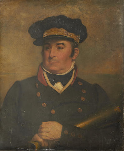 English School, 19th Century A pair of portraits of Commander John Cornelius Woolward RN (died 1839), Harbourmaster at Ramsgate 1811-1839 (2)