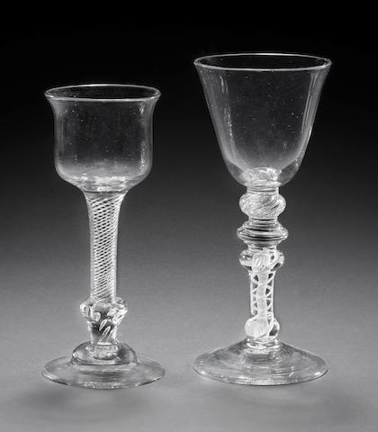 A composite stem goblet and a composite stem wine glass, circa 1760 and circa 1745