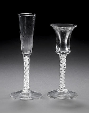 A rare toastmasters glass and a ratafia glass circa 1765