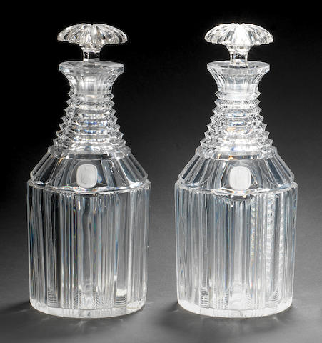 A pair of Apsley Pellatt sulphide decanters and stoppers, circa 1825