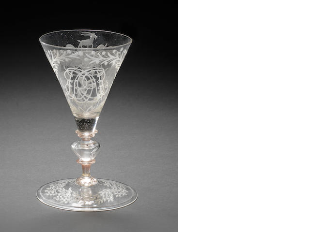 An Anglo-Venetian wine glass, circa 1680