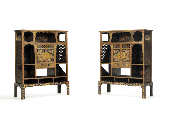 An Imperial pair of gilt-lacquer cabinets Qianlong