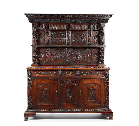 A carved oak sideboard