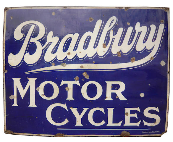 A 'Bradbury Motor Cycles' enamel sign,