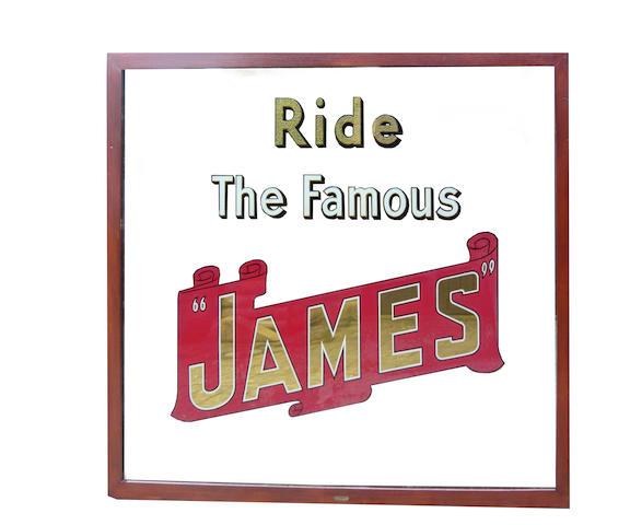A rare 'Ride The Famous James' advertising mirror, circa 1930,