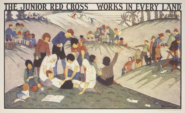 Ethel Spowers (Australian, 1890-1947) The Junior Red Cross Works in Every Land Offset lithograph printed in colours, after a linocut, 1941, on wove, from the edition of 300, printed by McLaren & Co, Melbourne, commissioned by the Australian Red Cross Society, Melbourne, with full margins, 251 x 418mm (9 1/2 x 16 1/2in)(I)