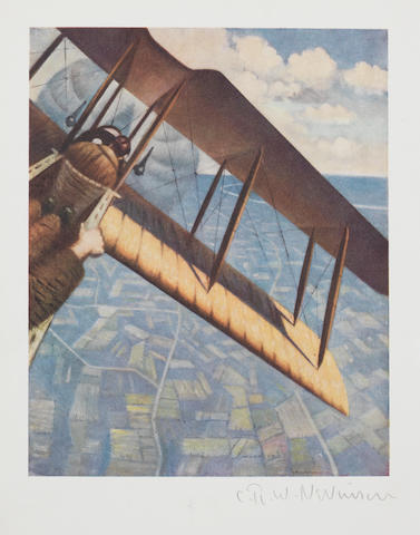 Christopher Richard Wynne Nevinson A.R.A. (British, 1889-1946) Banking at 4000 feet Offset lithograph printed in colours, 1918, on thin wove, signed in pencil, published in 'The Great War: Fourth Year' by J.E. Crawford Flitch, with full margins, 152 x 183mm (6 x 7 1/4in) (I) (unframed)