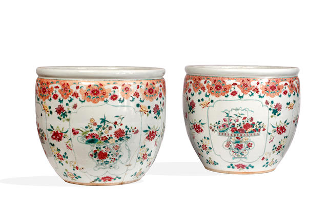 A pair of 20th Century Chinese famille rouge jardinieres,