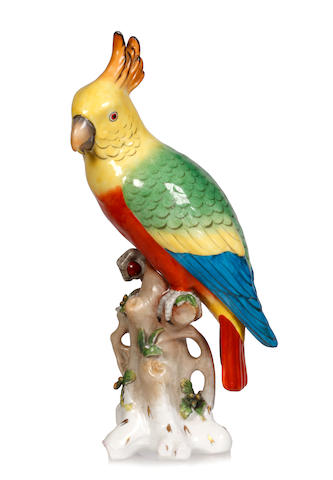 A Nymphenburg model of a parrot