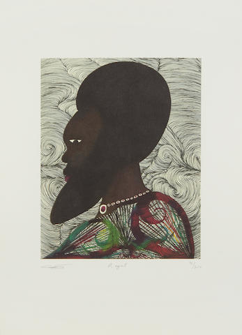 Chris Ofili (British, born 1968) Regal Lithograph printed in colours, 2004, on wove, signed, titled and numbered 72/300 in pencil, with margins, 400 x 290mm (15 3/4 x 11 1/2in)(SH)