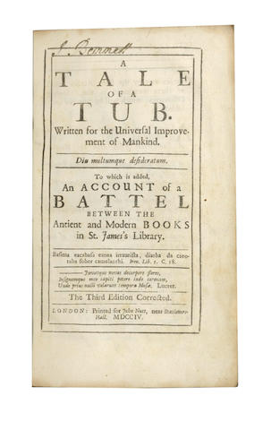 SWIFT (JONATHAN) A Tale of a Tub, third edition, 1704; and 11 others
