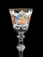 A highly important Beilby enamelled and gilt Royal armorial light-baluster wine glass for Prince William V of Orange and Nassau, circa 1766