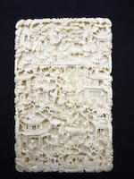 A well presented Canton export ivory card case 19th century