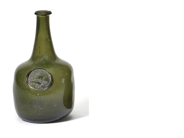 A rare sealed wine bottle, dated 1729