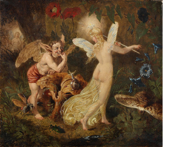 Sir Joseph Noel Paton (Scottish, 1821-1900) Puck and Titania: a scene from Midsummer Night's Dream 22.2 x 24.9 cm. (8 3/4 x 9 13/16 in.) unframed