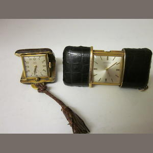 Movado: A miniature desk clock/watch, (2)