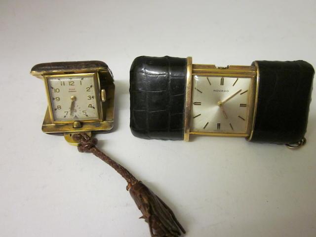 Movado: A miniature desk clock/watch, (2)