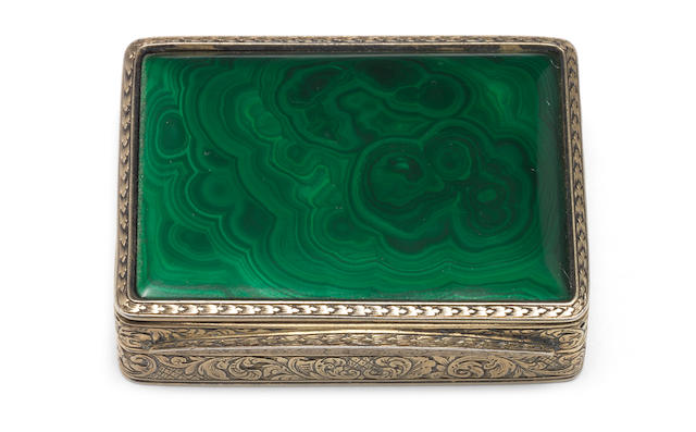 A William IV silver-gilt mounted malachite  vinaigrette possibly by Thomas Diller, London 1836  (3)