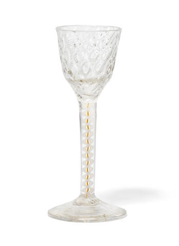 A colour-twist wine glass, circa 1765