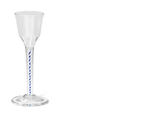 A colour-twist wine glass with blue threads, circa 1770