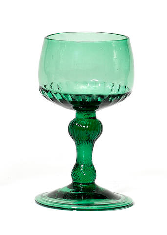 A rare green-tinted incised twist mead glass, circa 1750