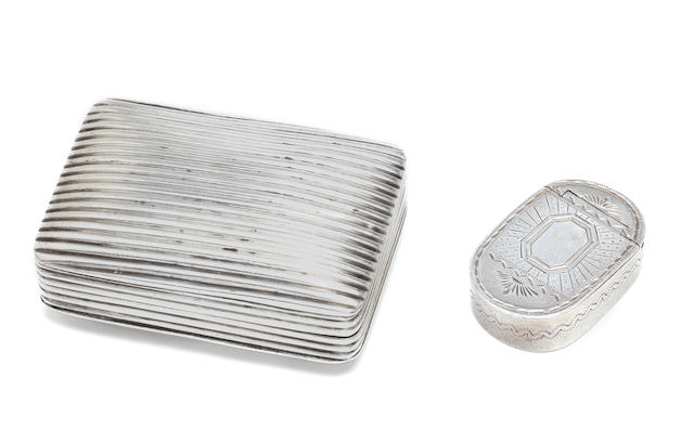 A George III silver patch/snuff box by Samuel Pemberton, Birmingham 1798; together with another three assorted silver boxes (4)